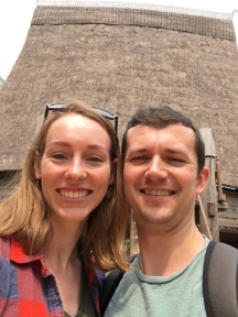 Here we are in front of a traditional longhouse. Mostly this is the only photo of the day where we're not realllly sweaty.