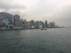 The skyline of Hong Kong island. Lots of big buildings...