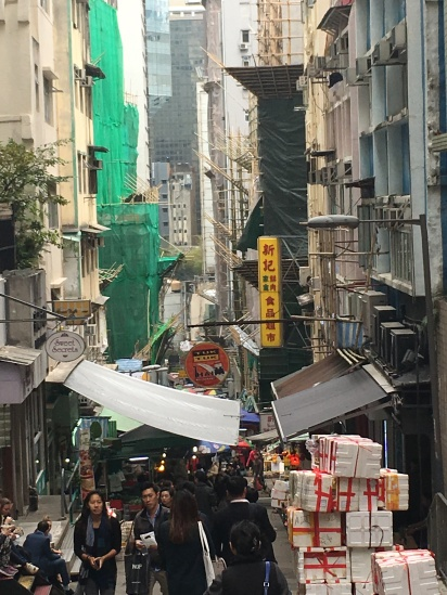 Here's a view down one of the steep streets of HK's Soho area.