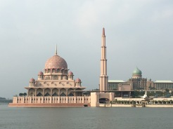 This is the Putra Mosque in Putrajaya. It's pink!!!