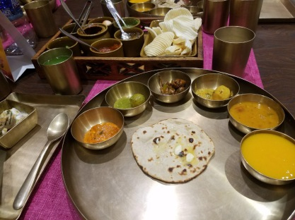 A thali at Samaroh. All of the dishes and utensils were a nice heavy copper.