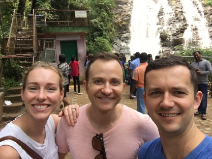 Here's our traumatized trio at Abbey Falls in Coorg.