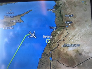 The approach to Beirut. I'd love to calculate the fuel expenditure for this zigzag.