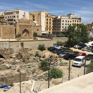 Archeological ruins in Beirut. I love that it's being used as a parking lot.