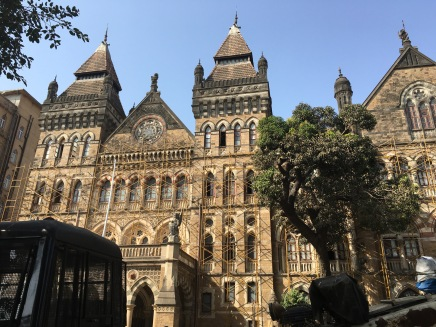 The outside of Victoria Terminus is stunning.