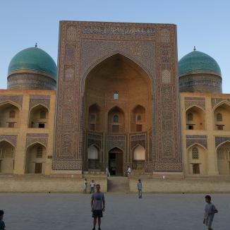 Jeff outside the Mir-i-Arab Madrasah in Bukhara.