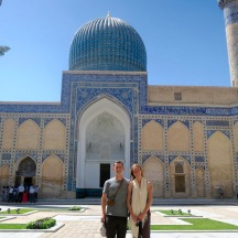 Jeff and In in the Ulugh Beg madrassa.