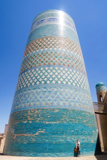 A huge and unfinished minaret. I'm standing there for scale.