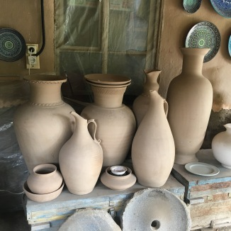 Pottery drying before its first firing.