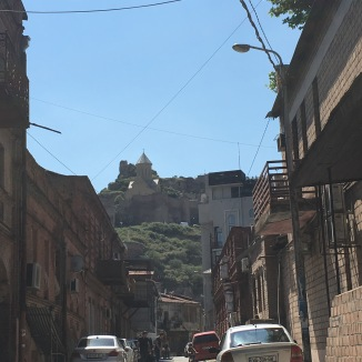 A view along one of the main streets to the Narikala fort.