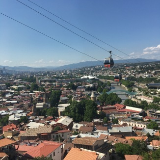 The cable car to the top of Narikala Fort. See what I mean about precipitous heights?