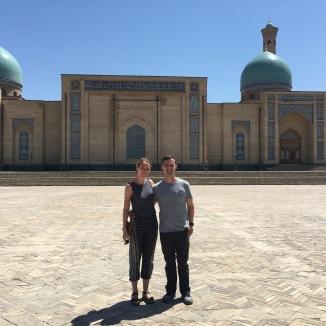 Jeff and I outside of the Abulkasym Madrassah in Tashkent.