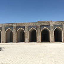 The arch-colonnaded prayer halls in the mosque.