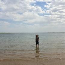 Enjoying some cool water at Aydar lake.