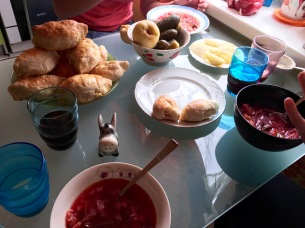 All of our goodies: borschtsch, brined apples, kvass, and pirozhkis.