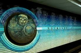 Cosmonaut Vladimir Aleksandrovich Dzhanibekov adorns the walls of the Tashkent metro.