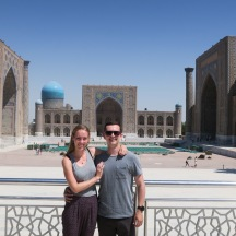 Jeff and me in front of the famed Registan Square in Samarkand.