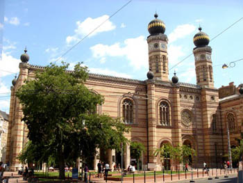 The exterior of the Dohány Street Synagogue in Budapest.