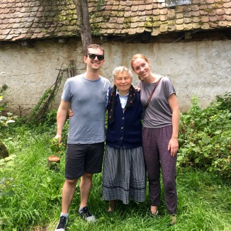 Us with Auntie Sarah, a sweet old lady who showed us her amazing garden.
