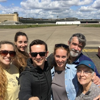 The whole Sherlock clan at the defunct Tempelhof Airport in Berlin.