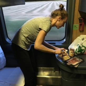Look at this luxury!!!! I made us fig and ham sandwiches in our glorious cabin. I loved it.