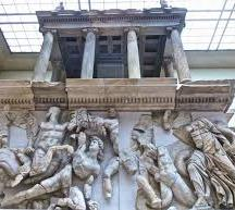 A frieze from the front of a Roman era market.