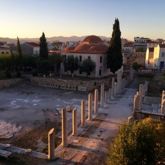 A view over ancient Roman (not Greek) ruins in Athens.