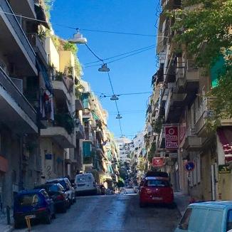 A typical street view in Athen's Kipsali neighborhood.