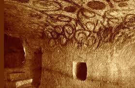 The red ochre wall paintings, over 6000 years old.