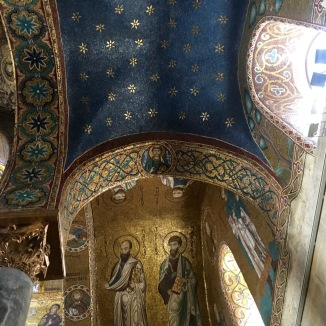 A Byzantine mosaic on the interior of an Arabesque dome. Quite the blend.