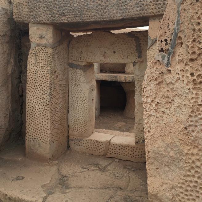One of the doorways at the Ħaġar Qim Temple. I love the texture.