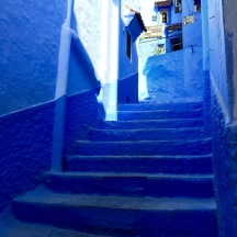 Blue stairs.