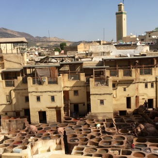 The view of the tanneries from our hustler's rooftop. Each colored vat is a different dye for leather.