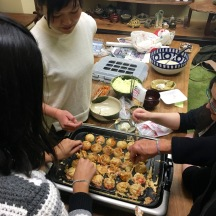 Making takoyaki. We sucked at it.